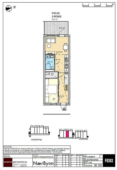 Plantegning som viser leilighet F03 - 03