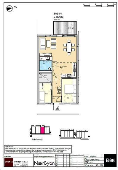 Plantegning som viser leilighet E03 - 04