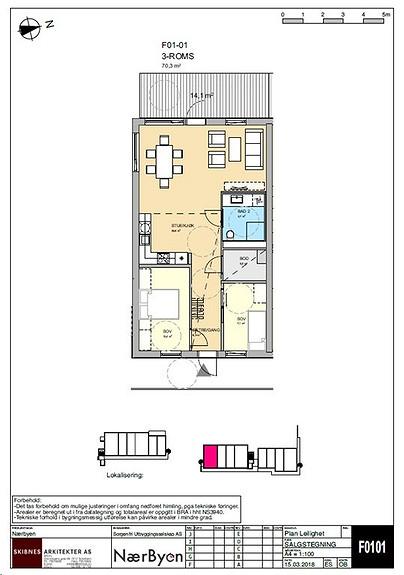 Plantegning som viser leilighet F01 - 01