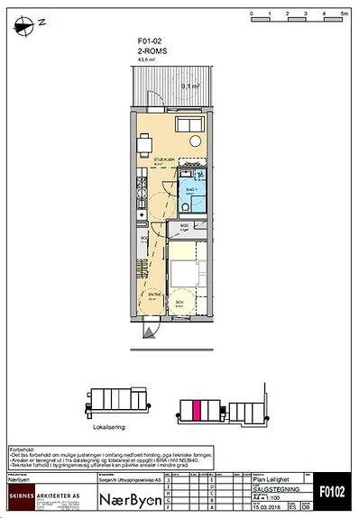 Plantegning som viser leilighet F01 - 02