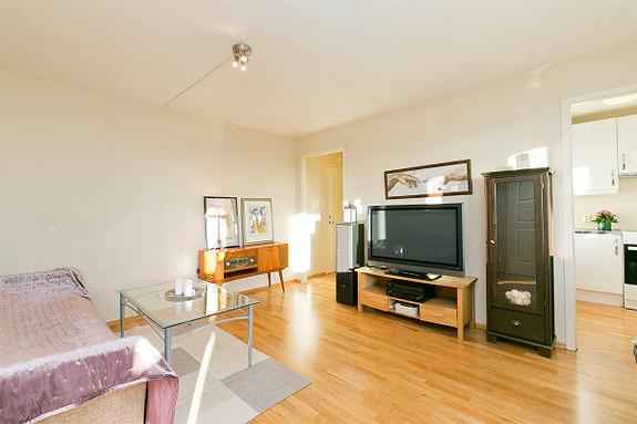 Falkum - Ny pris! Arealeffektiv og lettstelt leilighet med nyere bad og kjøkken. Innglasset balkong. Heis.