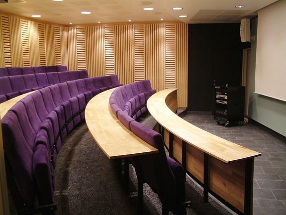 Auditorium i bygget. Vi har også flere møterom til utleie.