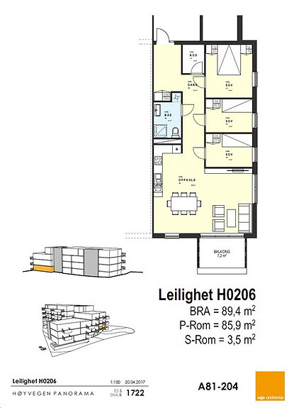 Plantegning som viser leilighet 0206 - 2. ETG. *