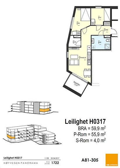 Plantegning som viser leilighet 0317 - 3. ETG.*