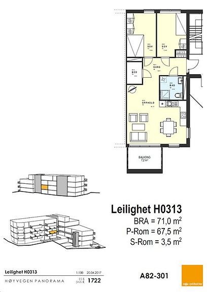 Plantegning som viser leilighet 0313 -3. ETG.