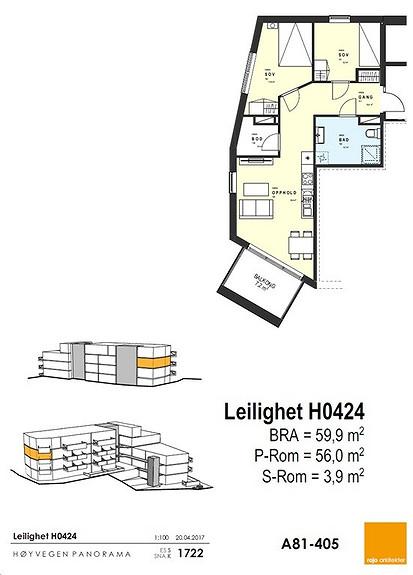 Plantegning som viser leilighet 0424 - 4. ETG.