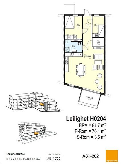 Plantegning som viser leilighet 0204 - 2. ETG. *