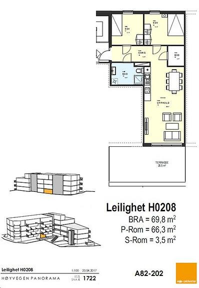 Plantegning som viser leilighet 0208 - 2. ETG.*