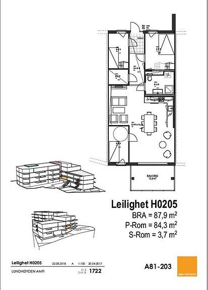 Plantegning som viser leilighet 0205 - 2. ETG.*