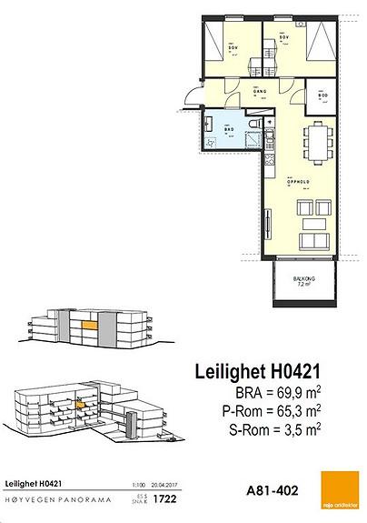 Plantegning som viser leilighet 0421 - 4. ETG. *