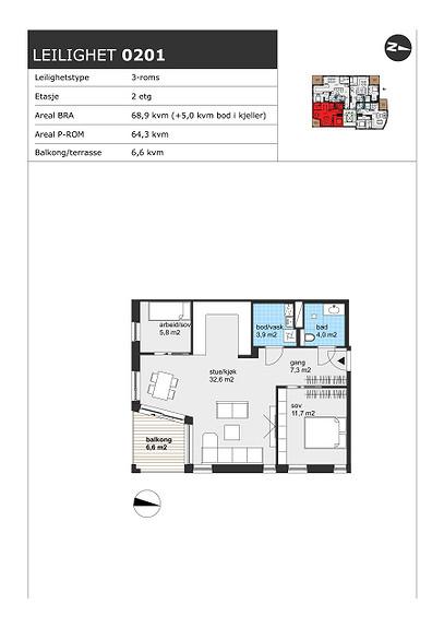 Plantegning som viser leilighet H0201 RESERVERT