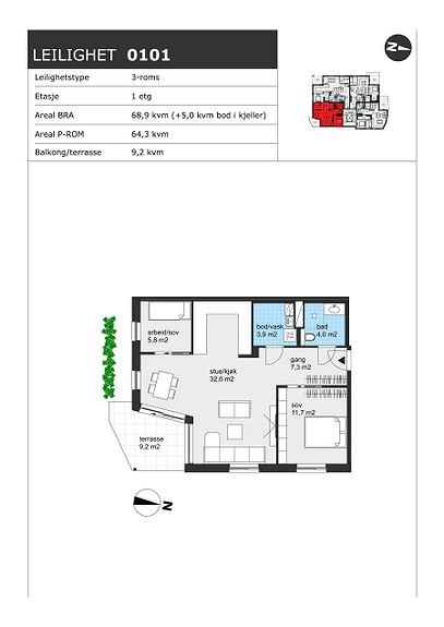 Plantegning som viser leilighet H0101