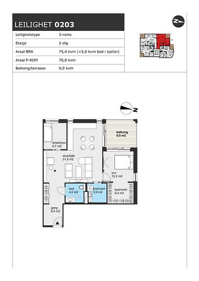 Plantegning som viser leilighet H0203