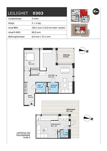 Plantegning som viser leilighet H0303