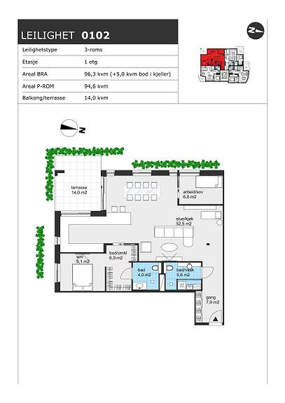 Plantegning som viser leilighet H0102