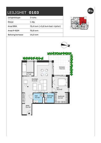 Plantegning som viser leilighet H0103