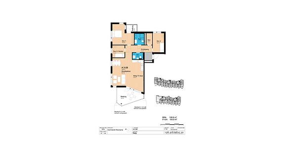 Plantegning som viser leilighet A3-08