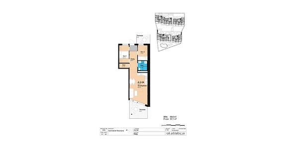 Plantegning som viser leilighet A2-04