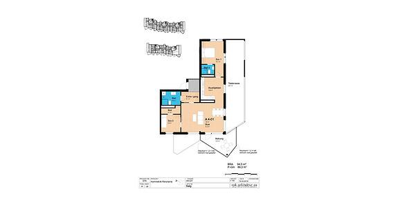 Plantegning som viser leilighet A4-01