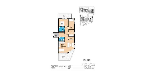 Plantegning som viser leilighet A2-01