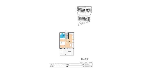 Plantegning som viser leilighet A2-02