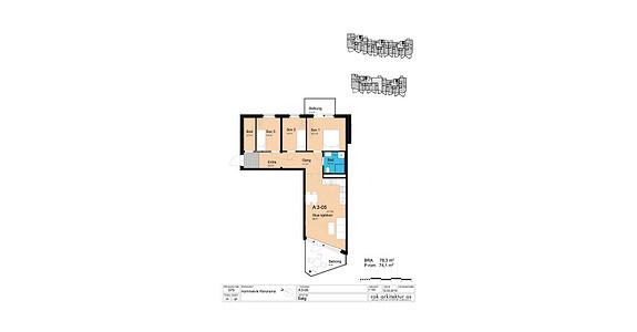 Plantegning som viser leilighet A3-05