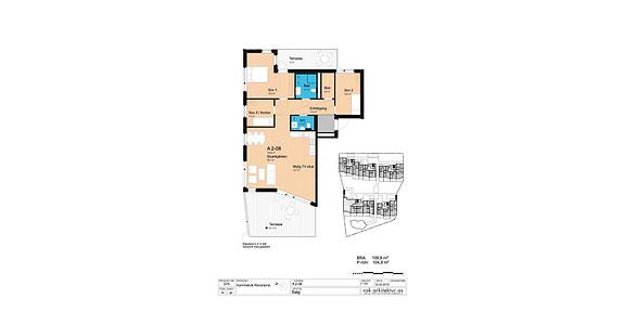 Plantegning som viser leilighet A2-08