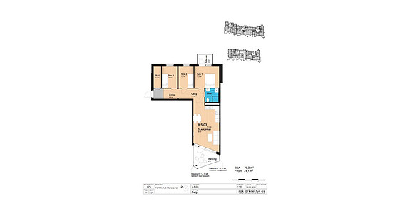 Plantegning som viser leilighet A5-03
