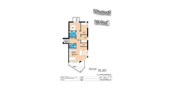Plantegning som viser leilighet A3-01