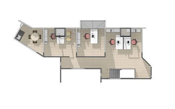 Forslag til innredning 3 etg. 76 m2.