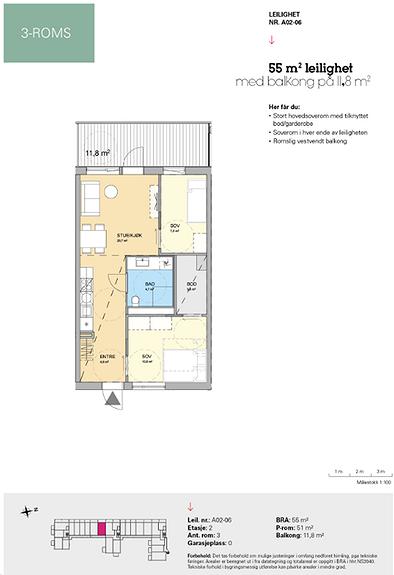 Plantegning som viser leilighet A 02-06