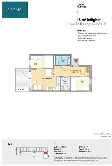 Plantegning som viser leilighet D 02-03