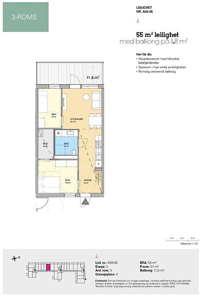Plantegning som viser leilighet A 03-05