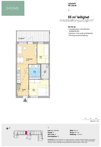 Plantegning som viser leilighet A 03-06