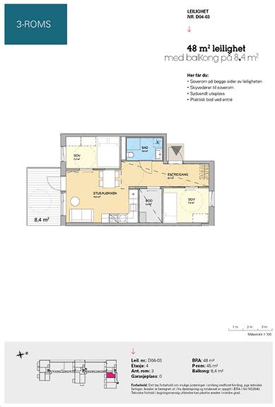 Plantegning som viser leilighet D 04-03