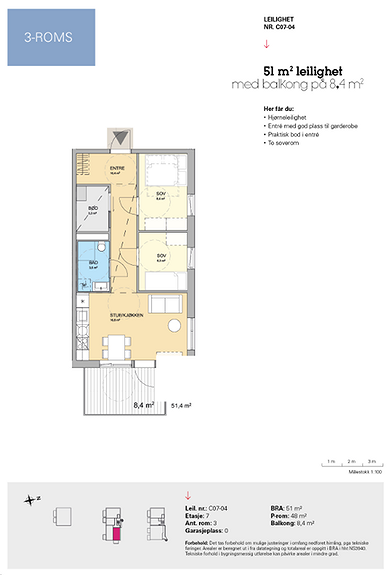 Plantegning som viser leilighet C 07-04