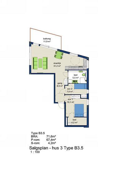Plantegning som viser leilighet 3-405