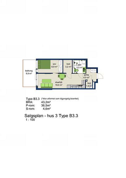 Plantegning som viser leilighet 3-303