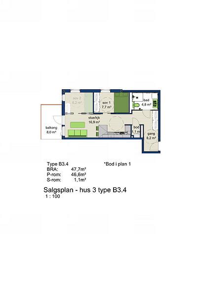 Plantegning som viser leilighet 3-304