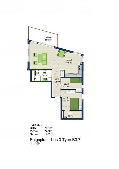 Plantegning som viser leilighet 3-704