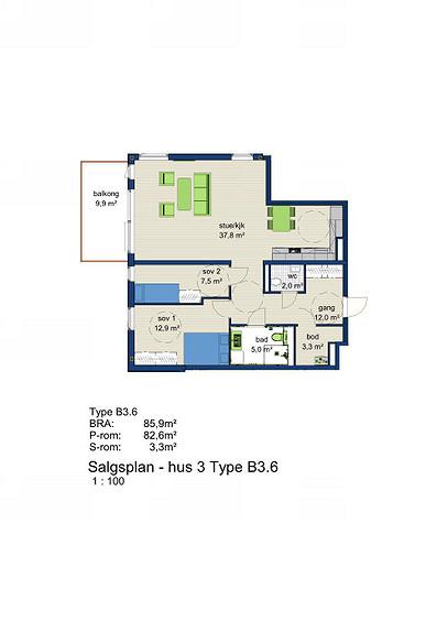 Plantegning som viser leilighet 3-603