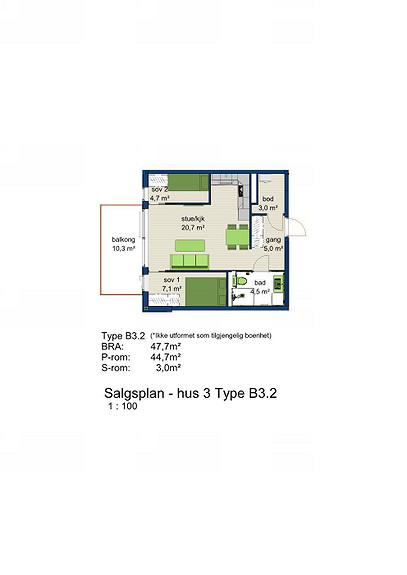 Plantegning som viser leilighet 3-502