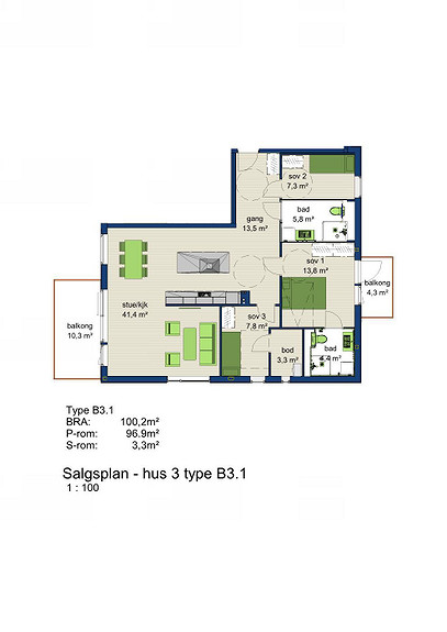 Plantegning som viser leilighet 3-201