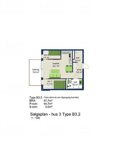 Plantegning som viser leilighet 3-702