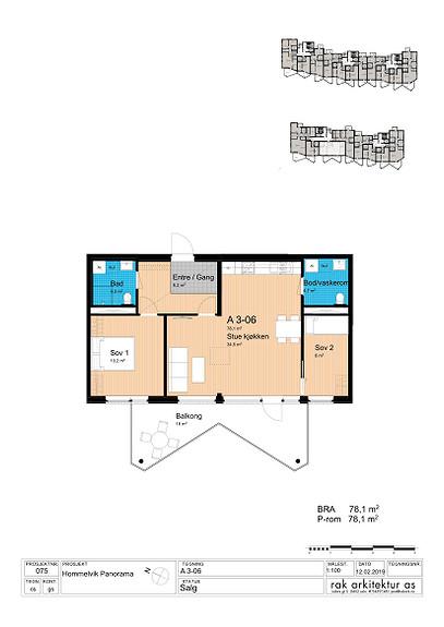 Plantegning som viser leilighet A3-06 *