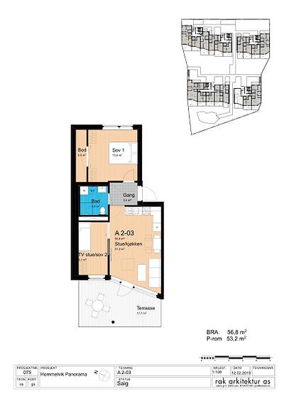 Plantegning som viser leilighet A2-03 *