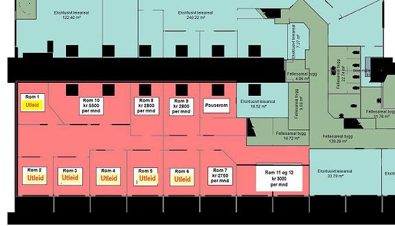 Kontorfellesskap med bredbånd og renhold inkludert i leien
