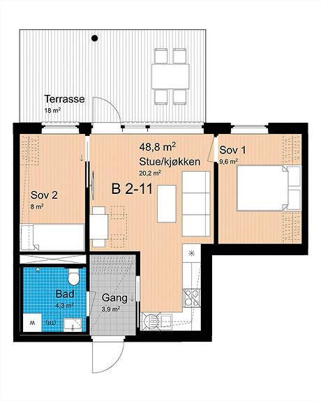 Plantegning som viser leilighet B-211