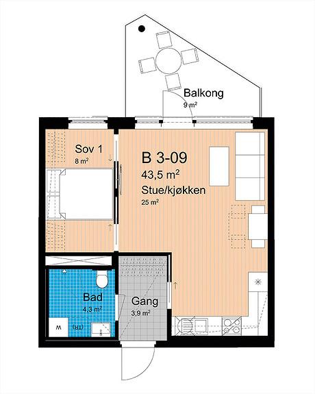 Plantegning som viser leilighet B-309