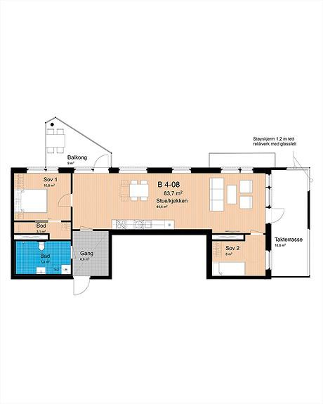 Plantegning som viser leilighet B-408